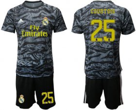 Wholesale Real Madrid #25 Courtois Black Goalkeeper Soccer Club Jersey