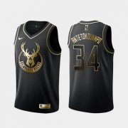 Wholesale Cheap Bucks 34 Giannis Antetokounmpo Black Gold Nike Swingman Jersey