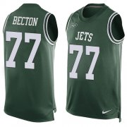 Wholesale Cheap Nike Jets #77 Mekhi Becton Green Team Color Men's Stitched NFL Limited Tank Top Jersey