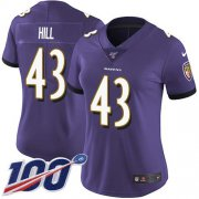 Wholesale Cheap Nike Ravens #43 Justice Hill Purple Team Color Women's Stitched NFL 100th Season Vapor Untouchable Limited Jersey