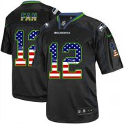 Wholesale Cheap Nike Seahawks #12 Fan Black Men's Stitched NFL Elite USA Flag Fashion Jersey