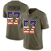 Wholesale Cheap Nike Bills #57 A.J. Epenesas Olive/USA Flag Youth Stitched NFL Limited 2017 Salute To Service Jersey