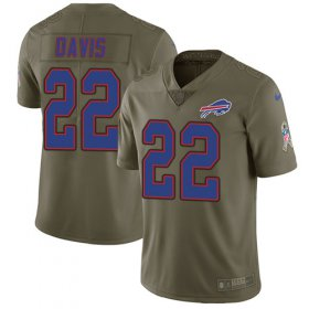 Wholesale Cheap Nike Bills #22 Vontae Davis Olive Youth Stitched NFL Limited 2017 Salute to Service Jersey