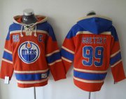 Wholesale Cheap Oilers #99 Wayne Gretzky Orange Sawyer Hooded Sweatshirt Stitched NHL Jersey