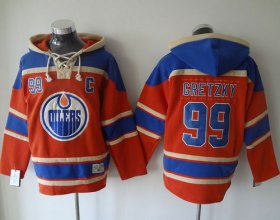 Wholesale Oilers #99 Wayne Gretzky Orange Sawyer Hooded Sweatshirt Stitched NHL Jersey