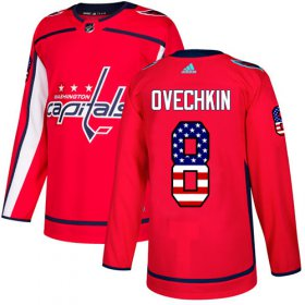 Wholesale Cheap Adidas Capitals #8 Alex Ovechkin Red Home Authentic USA Flag Stitched Youth NHL Jersey