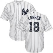 Wholesale Cheap Yankees #18 Don Larsen White Strip Team Logo Fashion Stitched MLB Jersey