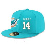 Wholesale Cheap Miami Dolphins #14 Jarvis Landry Snapback Cap NFL Player Aqua Green with White Number Stitched Hat