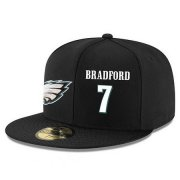 Wholesale Cheap Philadelphia Eagles #7 Ron Jaworski Snapback Cap NFL Player Black with White Number Stitched Hat