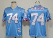 Wholesale Cheap Mitchell And Ness Oilers #74 Bruce Matthews Baby Blue Stitched Throwback NFL Jersey