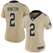 Wholesale Cheap Nike Saints #2 Jameis Winston Gold Women's Stitched NFL Limited Inverted Legend Jersey
