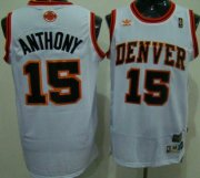 Wholesale Cheap Denver Nuggets #15 Carmelo Anthony White Swingman Throwback Jersey