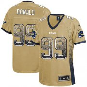 Wholesale Cheap Nike Rams #99 Aaron Donald Gold Women's Stitched NFL Elite Drift Fashion Jersey