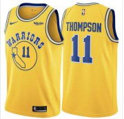 Wholesale Cheap Warriors 11 Klay Thompson Yellow Throwback Nike Swingman Jersey