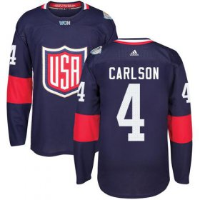 Wholesale Cheap Team USA #4 John Carlson Navy Blue 2016 World Cup Stitched NHL Jersey