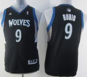 Cheap Minnesota Timberwolves #9 Ricky Rubio Black Kids Jersey