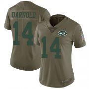 Wholesale Cheap Nike Jets #14 Sam Darnold Olive Women's Stitched NFL Limited 2017 Salute to Service Jersey