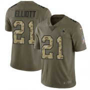 Wholesale Cheap Nike Cowboys #21 Ezekiel Elliott Olive/Camo Youth Stitched NFL Limited 2017 Salute to Service Jersey