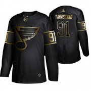 Wholesale Cheap Adidas Blues #91 Vladimir Tarasenko Men's 2019 Black Golden Edition Authentic Stitched NHL Jersey
