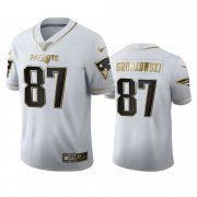 Wholesale Cheap New England Patriots #87 Rob Gronkowski Men's Nike White Golden Edition Vapor Limited NFL 100 Jersey