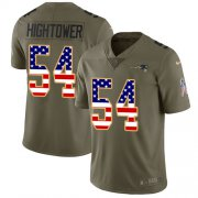 Wholesale Cheap Nike Patriots #54 Dont'a Hightower Olive/USA Flag Youth Stitched NFL Limited 2017 Salute to Service Jersey