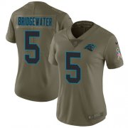 Wholesale Cheap Nike Panthers #5 Teddy Bridgewater Olive Women's Stitched NFL Limited 2017 Salute To Service Jersey