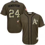 Wholesale Cheap Athletics #24 Rickey Henderson Green Salute to Service Stitched Youth MLB Jersey