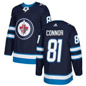 Wholesale Cheap Adidas Jets #81 Kyle Connor Navy Blue Home Authentic Stitched NHL Jersey