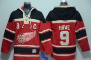 Wholesale Red Wings #9 Gordie Howe Red Sawyer Hooded Sweatshirt Stitched NHL Jersey