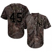 Wholesale Cheap Yankees #45 Gerrit Cole Camo Realtree Collection Cool Base Stitched Youth MLB Jersey