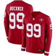 Wholesale Cheap Nike 49ers #99 DeForest Buckner Red Team Color Men's Stitched NFL Limited Therma Long Sleeve Jersey