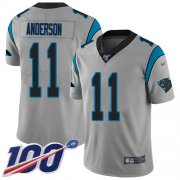 Wholesale Cheap Nike Panthers #11 Robby Anderson Silver Youth Stitched NFL Limited Inverted Legend 100th Season Jersey
