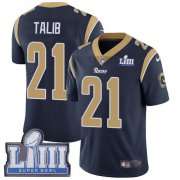 Wholesale Cheap Nike Rams #21 Aqib Talib Navy Blue Team Color Super Bowl LIII Bound Men's Stitched NFL Vapor Untouchable Limited Jersey