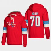 Wholesale Cheap Washington Capitals #70 Braden Holtby Red adidas Lace-Up Pullover Hoodie