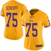 Wholesale Cheap Nike Redskins #75 Brandon Scherff Gold Women's Stitched NFL Limited Rush Jersey