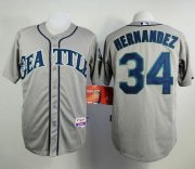 Wholesale Mariners #34 Felix Hernandez Grey Cool Base Stitched Baseball Jersey
