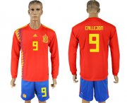 Wholesale Cheap Spain #9 Callejon Red Home Long Sleeves Soccer Country Jersey