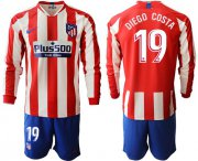 Wholesale Cheap Atletico Madrid #19 Diego Costa Home Long Sleeves Soccer Club Jersey