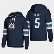 Wholesale Cheap Winnipeg Jets #5 Dmitry Kulikov Blue adidas Lace-Up Pullover Hoodie
