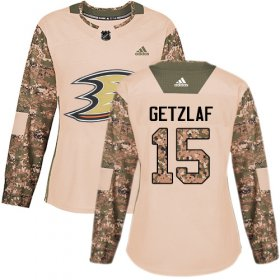 Wholesale Cheap Adidas Ducks #15 Ryan Getzlaf Camo Authentic 2017 Veterans Day Women\'s Stitched NHL Jersey