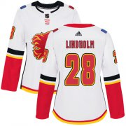 Wholesale Cheap Adidas Flames #28 Elias Lindholm White Road Authentic Women's Stitched NHL Jersey