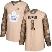Wholesale Cheap Adidas Maple Leafs #1 Johnny Bower Camo Authentic 2017 Veterans Day Stitched NHL Jersey