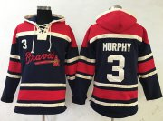 Wholesale Cheap Braves #3 Dale Murphy Navy Blue Sawyer Hooded Sweatshirt MLB Hoodie
