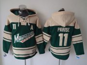 Wholesale Cheap Wild #11 Zach Parise Green Sawyer Hooded Sweatshirt Stitched NHL Jersey