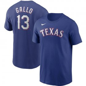 Wholesale Cheap Texas Rangers #13 Joey Gallo Nike Name & Number T-Shirt Royal