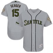 Wholesale Cheap Mariners #15 Kyle Seager Grey Flexbase Authentic Collection Memorial Day Stitched MLB Jersey