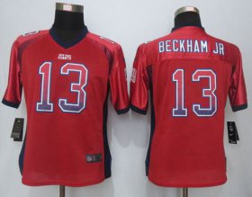 Wholesale Cheap Nike Giants #13 Odell Beckham Jr Red Alternate Women\'s Stitched NFL Elite Drift Fashion Jersey
