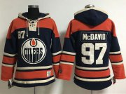 Wholesale Cheap Edmonton Oilers #97 Connor McDavid Navy Blue Women's Old Time Lacer NHL Hoodie
