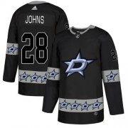 Wholesale Cheap Adidas Stars #28 Stephen Johns Black Authentic Team Logo Fashion Stitched NHL Jersey