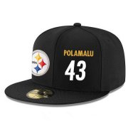 Wholesale Cheap Pittsburgh Steelers #43 Troy Polamalu Snapback Cap NFL Player Black with White Number Stitched Hat